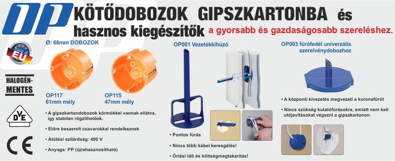 OP gipszkartondobozok és kiegészítők