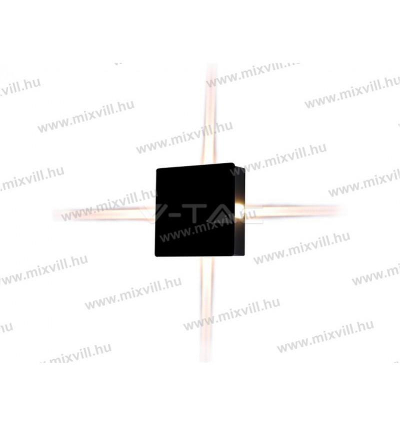 V TAC SKU 8212 oldalfali lámpa 440lm 4W 4000K IP65 fekete