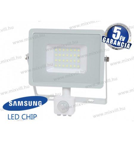 V TAC SKU 459 LED reflektor 30W 6400K 100° 2550lm mozgásérzékelős fehér Samsung chip 5 év garancia