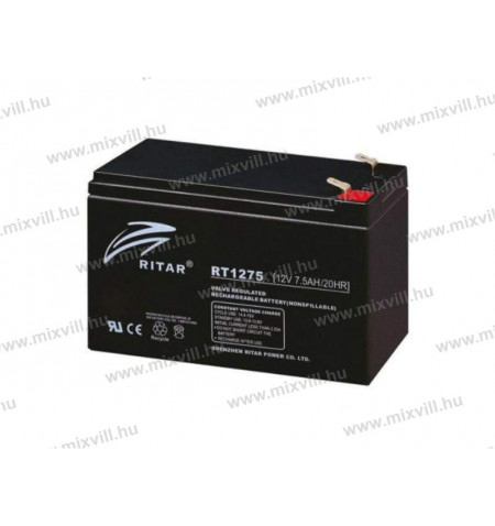 ritar-rt1275-12v-7,5Ah-riaszto-SLA-akkumulator-akksi