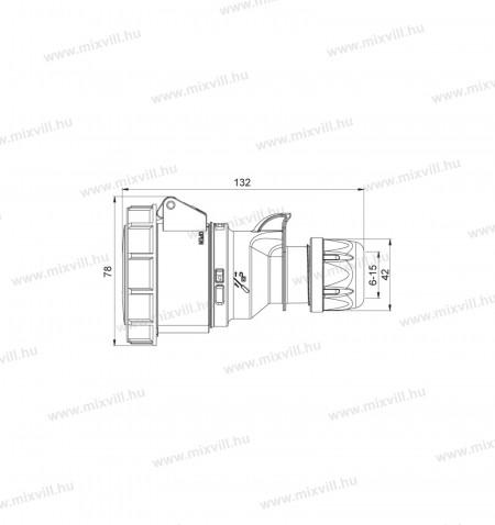 XBS-ILAV-163-ipari-lengo-aljzat-csatlakozó-16A-3-polus-vizmentes-406402V-IP67-meret