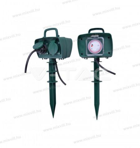 V-TAC-SKU-8811-kerti-leszurhato-2x2+F-dugalj-idozitovel-2x16A-max-3500W
