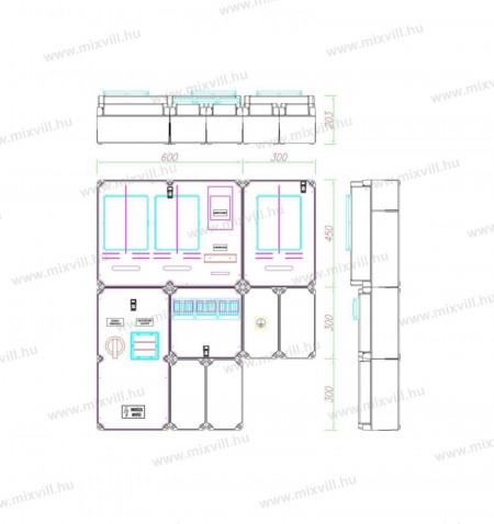 PVT-a-V-H-Fm-80A-CSF50-egy felhasznalasi-merohely-63A-80A-vezerelt-h-tarifa-feluletre-szerelt-foelos