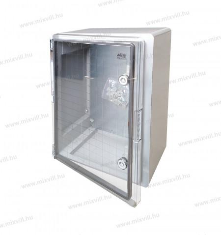 UVPB-5040A-500x400x180mm-IP65-ABS-muanyag-elosztoszekreny-UV-allo-halogenmentes-atlatszo-ajto-mete-5